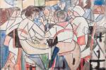 Vibracionismo_ Estudio, 1919. Acuarela y lápiz sobre papel, 23 x 26 cm.