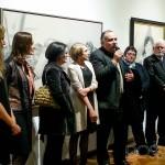Foto en el acto inaugural, habla Héctor Lescano en nombre de la comisión de Montevideo, Capital Iberoamericana de la Cultura 2013.
