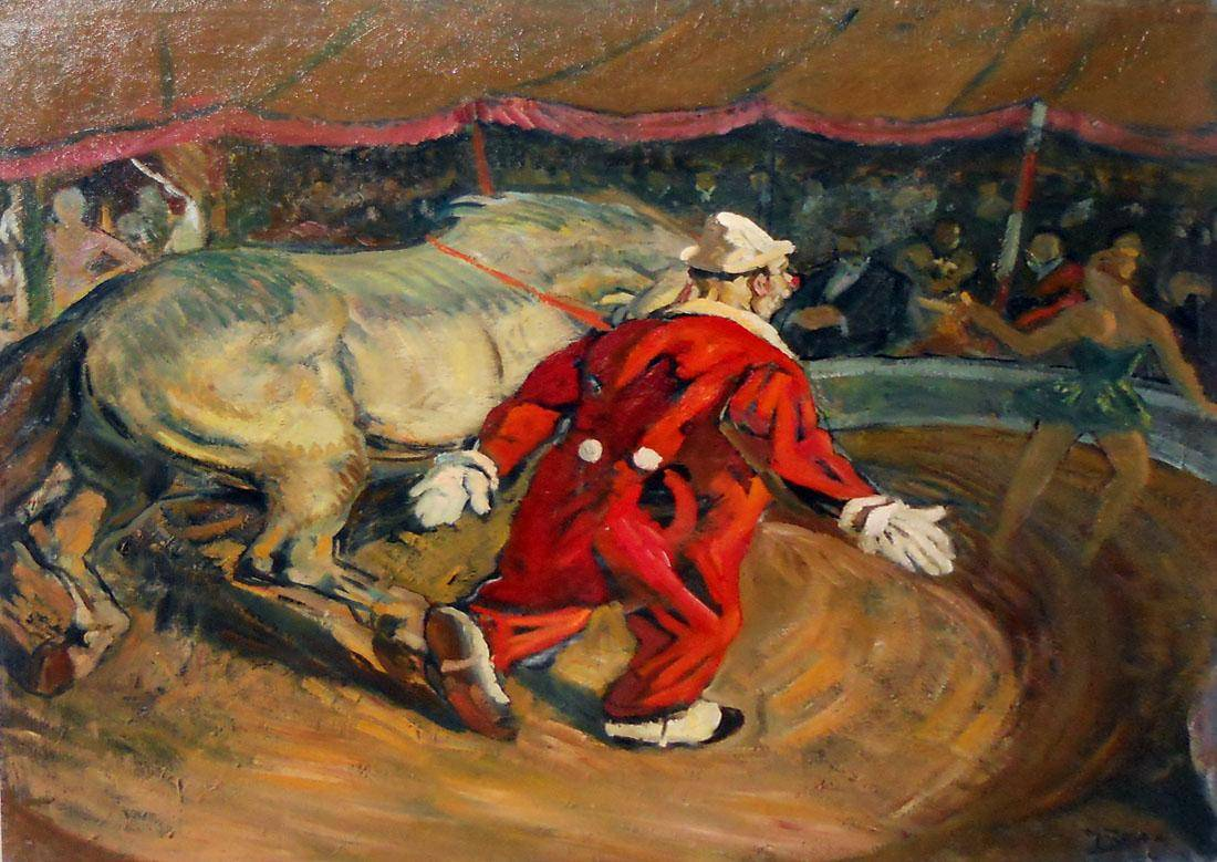 Payasoconcaballoblanco Autor: Manuel Rosé (1882-1961) Realizado: 1956 Técnica: Óleo