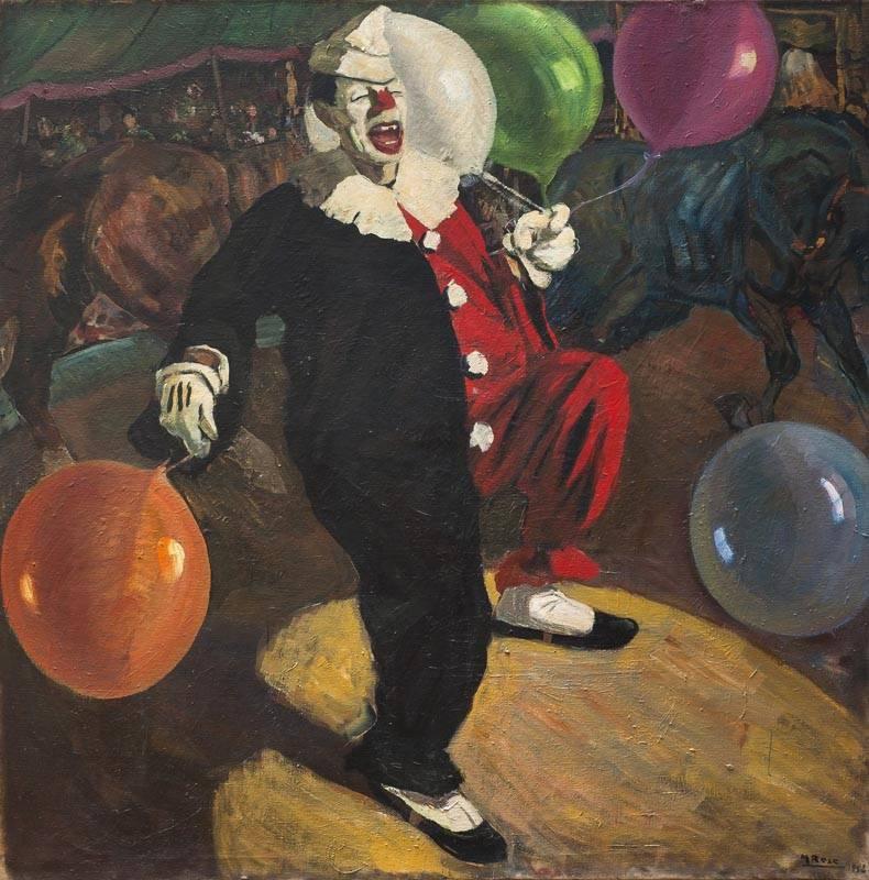 El payaso con globo Autor: Manuel Rosé (1882-1961) Realizado: 1952 Técnica: Óleo