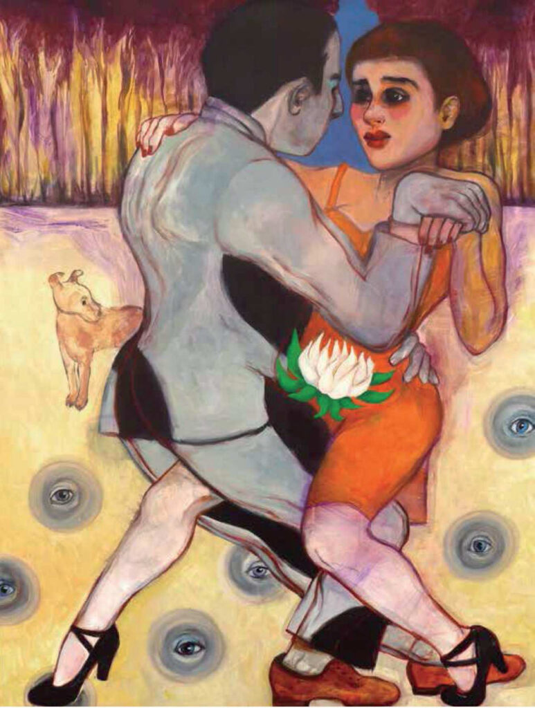 Tango y Pan con abisales, acrílico sobre tela, 2018