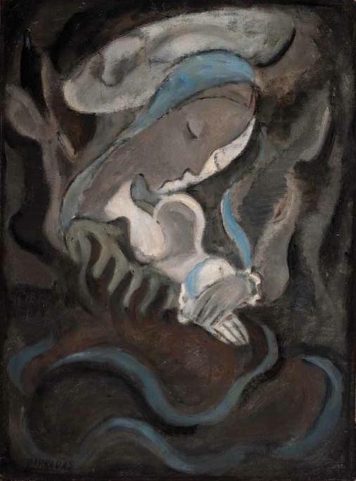 Místicos_ La vírgen y el niño, 1928. Óleo sobre tela, 63 x 47 cm.