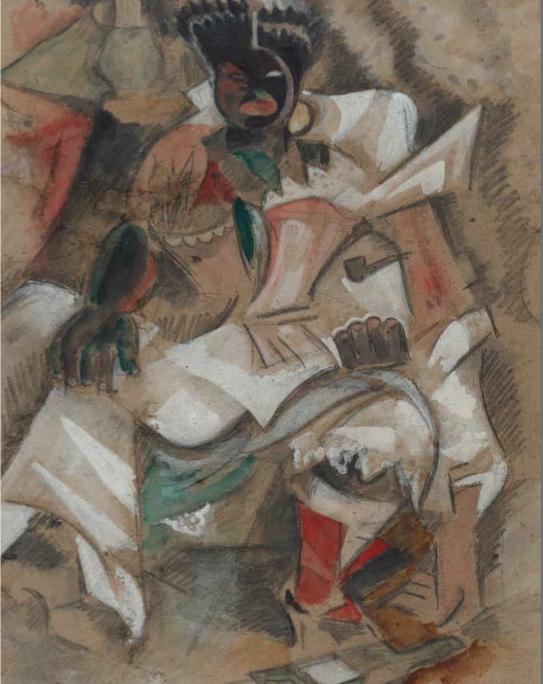 Estampones_ Negra y marineros, c.1928. Acuarela sobre cartón, 60 x 44,5 cm.
