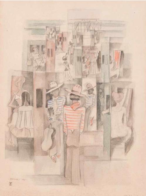 Estampones_Los taitas, 1928. Acuarela y lápiz sobre papel, 62 x 46 cm.