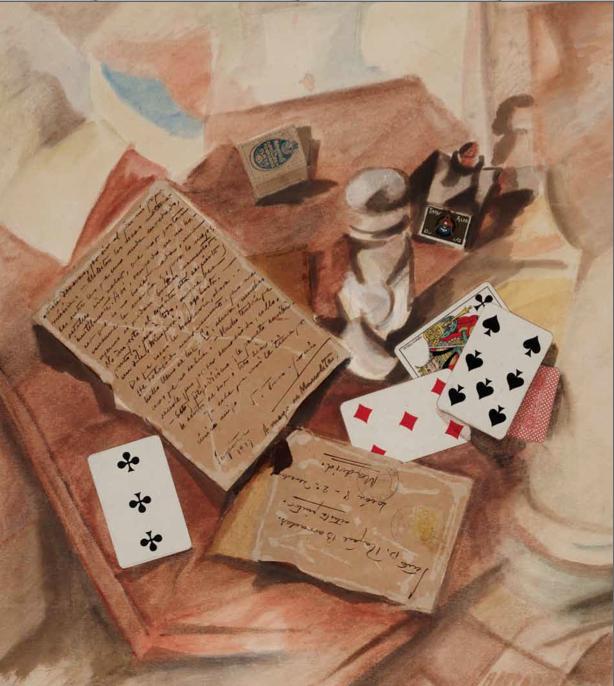 Vibracionismo_ Naturaleza muerta con carta de Torres García, 1919. Técnica mixta ‐ Pintura, 58,5 x 52 cm.